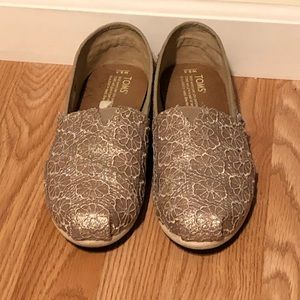 TOMS gold crochet shoes. Worn twice.